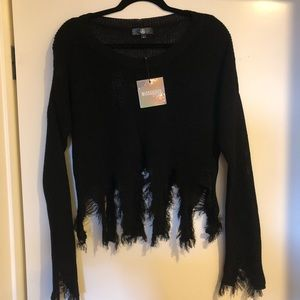 Missguided Black Distressed Jumper NWT Size Large